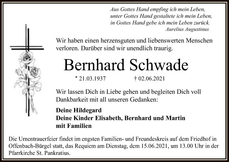 Traueranzeige für Bernhard Schwade vom 12.06.2021 aus OF