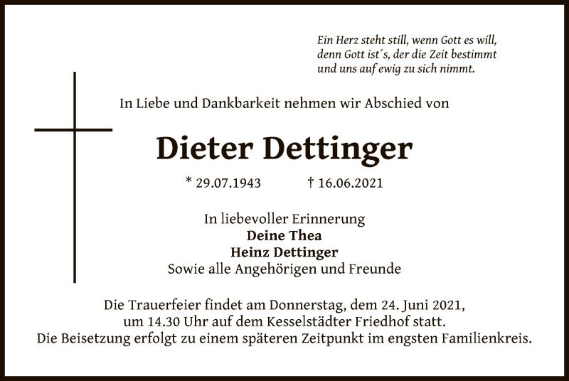 Traueranzeige für Dieter Dettinger vom 19.06.2021 aus OF