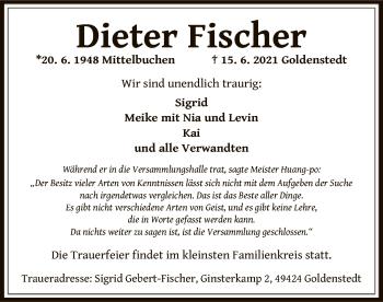Traueranzeige von Dieter Fischer von OF