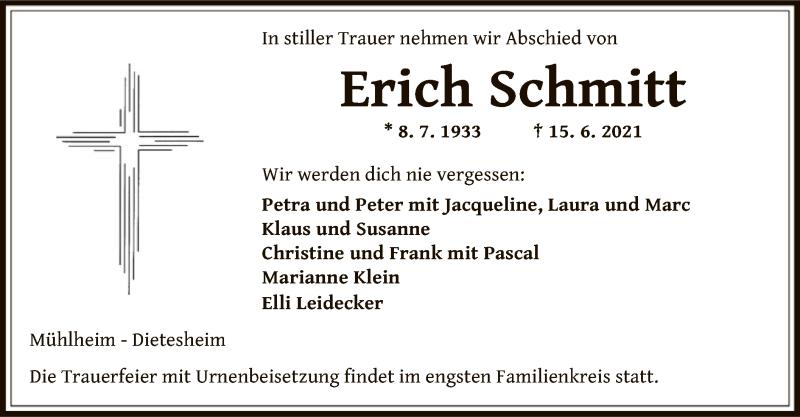 Traueranzeige für Erich Schmitt vom 23.06.2021 aus OF
