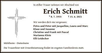 Traueranzeige von Erich Schmitt von OF