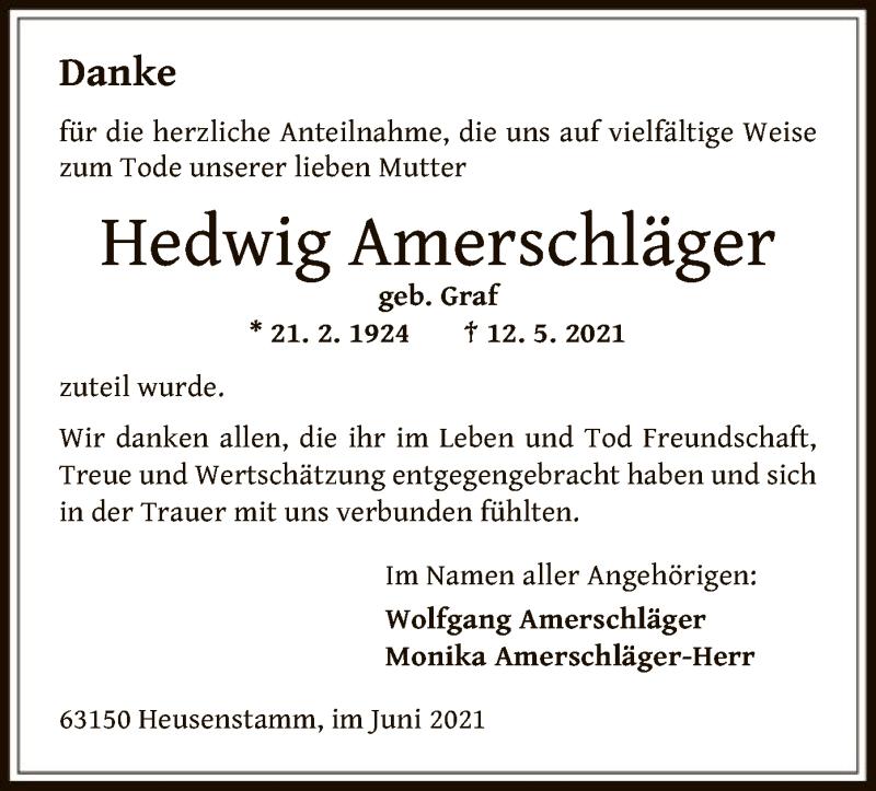 Traueranzeige für Hedwig Amerschläger vom 16.06.2021 aus OF