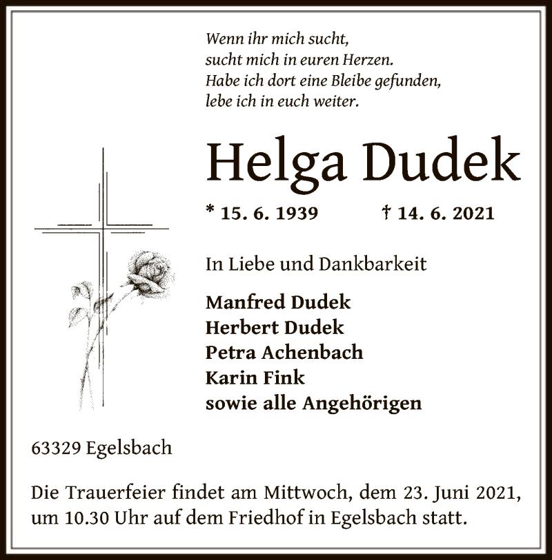Traueranzeige für Helga Dudek vom 19.06.2021 aus OF