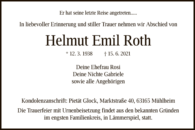Traueranzeige für Helmut Emil Roth vom 23.06.2021 aus OF