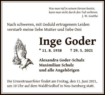 Traueranzeige von Inge Goder von OF