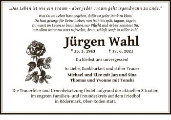 Traueranzeige von Jürgen Wahl von OF