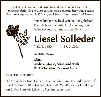Traueranzeige von Liesel Solleder von OF