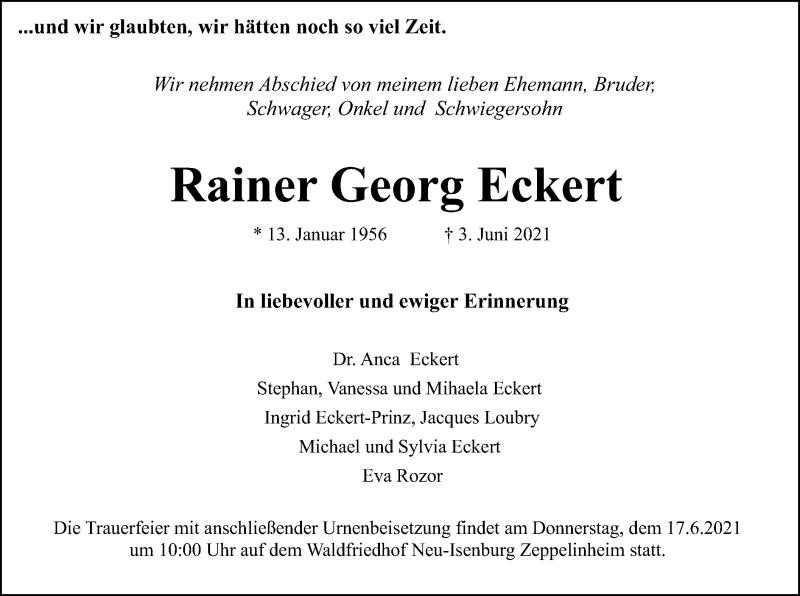 Traueranzeige für Rainer Georg Eckert vom 12.06.2021 aus OF