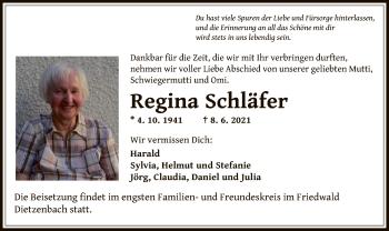 Traueranzeige von Regina Schläfer von OF