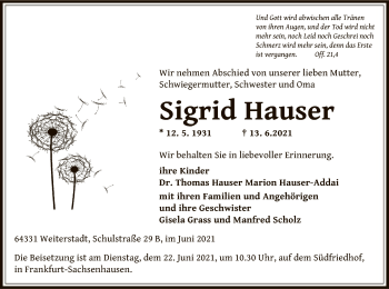 Traueranzeige von Sigrid Hauser von OF