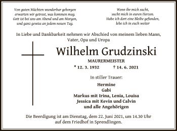 Traueranzeige von Wilhelm Grudzinski von OF