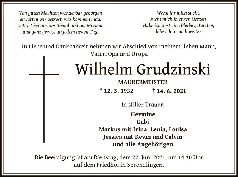 Traueranzeige für Wilhelm Grudzinski vom 24.06.2021 aus OF