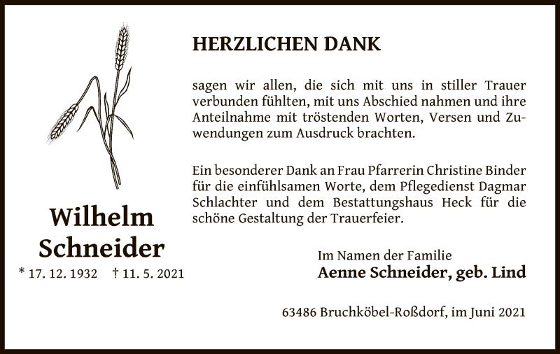 Traueranzeige für Wilhelm Schneider vom 12.06.2021 aus OF