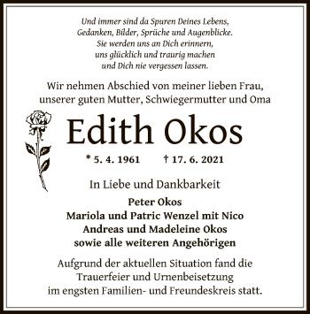 Traueranzeige von Edith Okos von OF