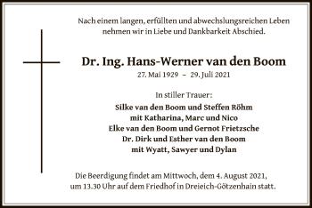 Traueranzeige von Hans-Werner van den Boom von OF