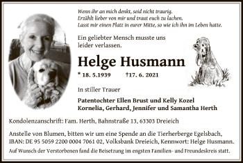 Traueranzeige von Helge Husmann von OF