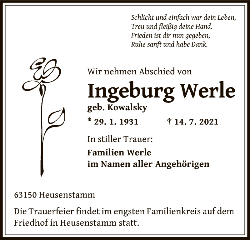 Traueranzeige für Ingeburg Werle vom 21.07.2021 aus OF