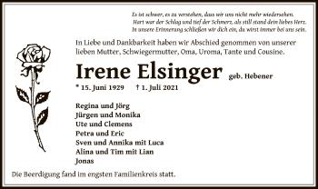 Traueranzeige von Irene Elsinger von OF