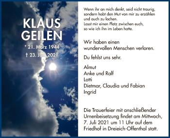 Traueranzeige von Klaus Geilen von OF