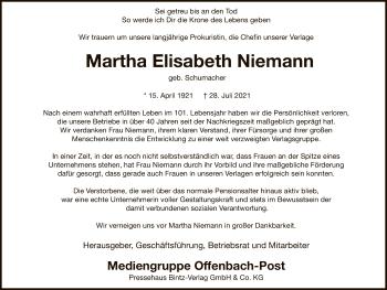 Traueranzeige von Martha Elisabeth Niemann von OF