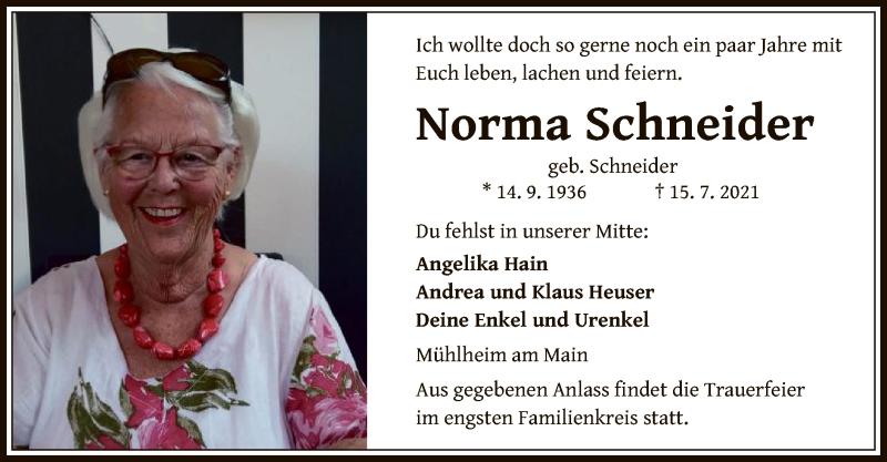 Traueranzeige für Norma Schneider vom 21.07.2021 aus OF