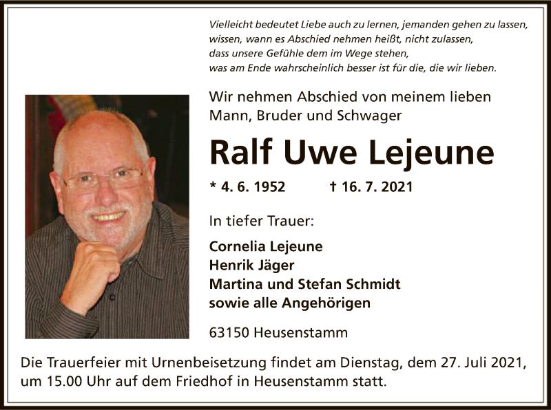 Traueranzeige für Ralf Uwe Lejeune vom 24.07.2021 aus OF