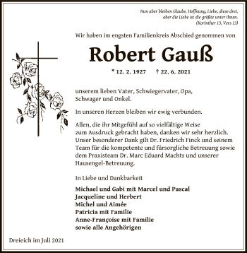 Traueranzeige von Robert Gauß von OF