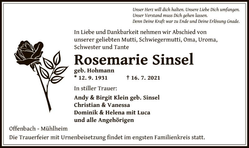 Traueranzeige für Rosemarie Sinsel vom 24.07.2021 aus OF