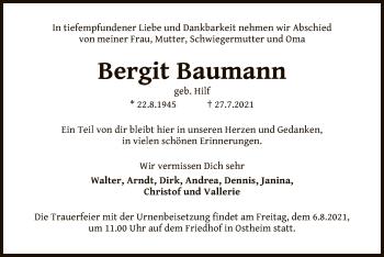 Traueranzeige von Bergit Baumann von OF