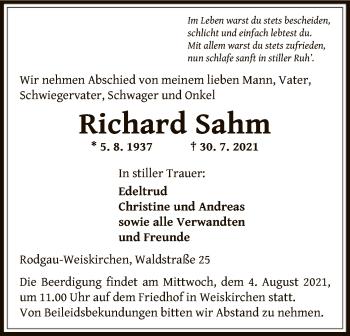 Traueranzeige von Richard Sahm von OF