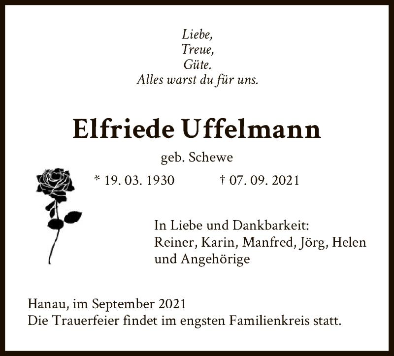 Traueranzeige für Elfriede Uffelmann vom 11.09.2021 aus OF