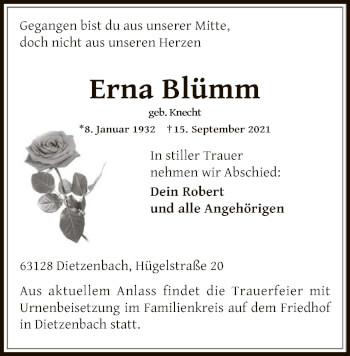 Traueranzeige von Erna Blümm von OF