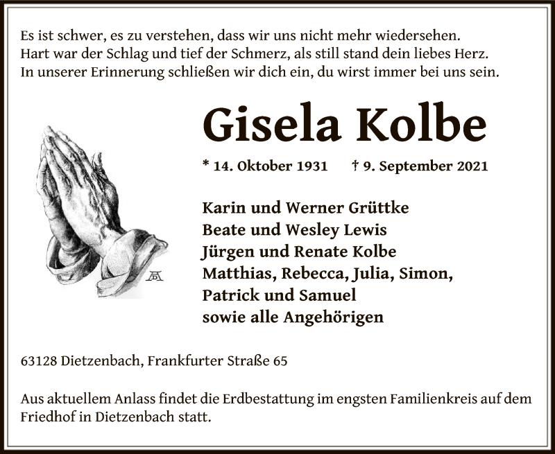 Traueranzeige für Gisela Kolbe vom 11.09.2021 aus OF