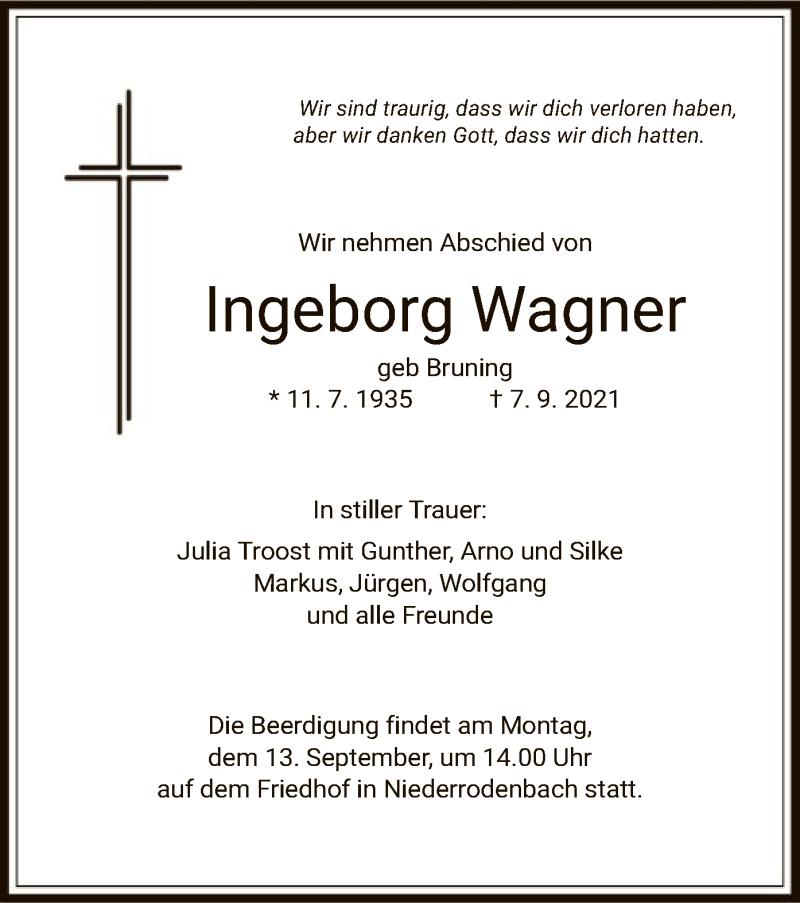 Traueranzeige für Ingeborg Wagner vom 11.09.2021 aus OF