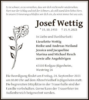Traueranzeige von Josef Wettig von OF