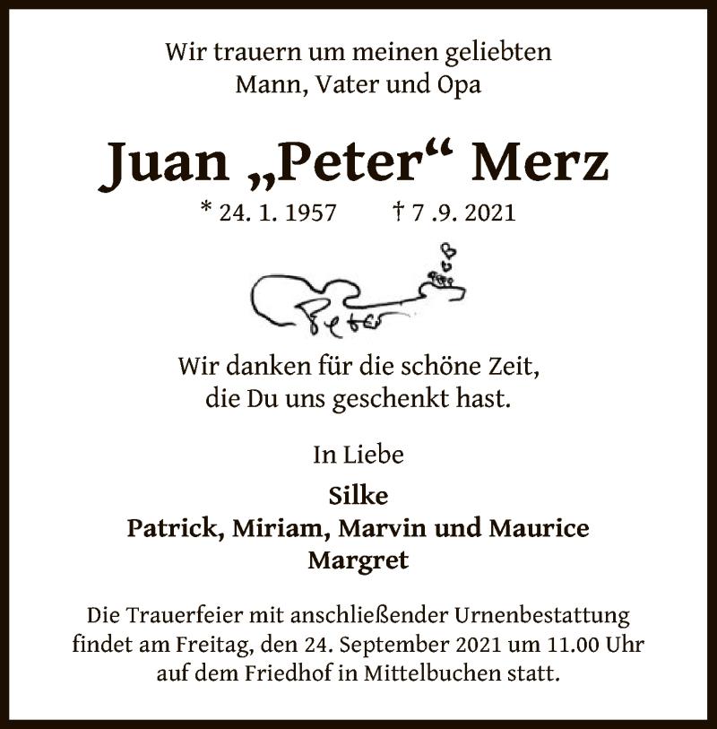 Traueranzeige für Juan Merz vom 11.09.2021 aus OF