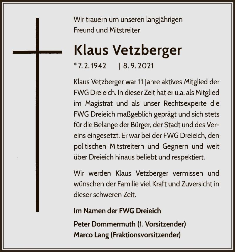Traueranzeige für Klaus Vetzberger vom 16.09.2021 aus OF