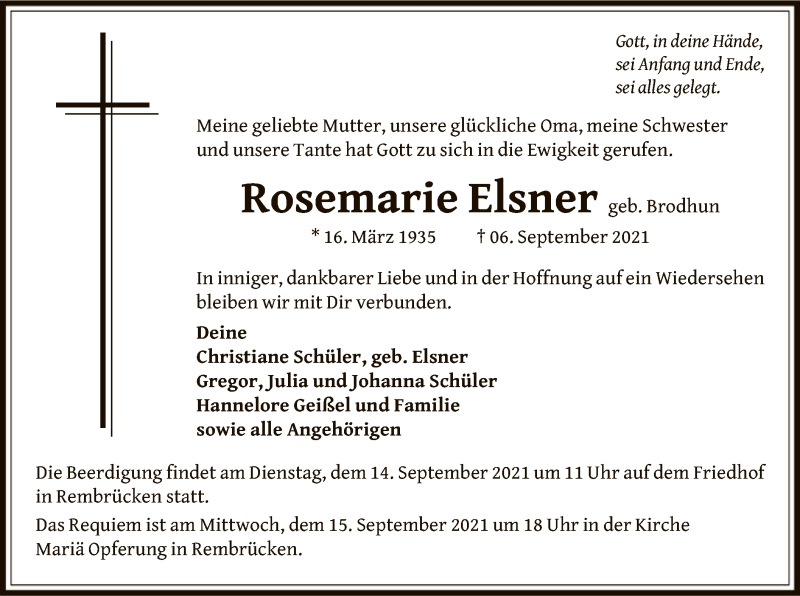 Traueranzeige für Rosemarie Elsner vom 11.09.2021 aus OF