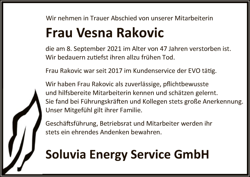 Traueranzeige für Vesna Rakovic vom 11.09.2021 aus OF