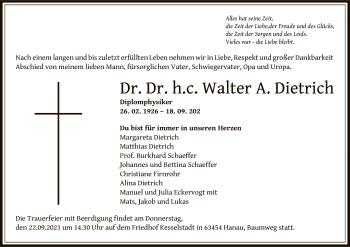 Traueranzeige von Walter A. Dietrich von OF